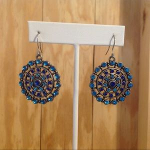 Silver Tone Blue Crystals Circle Earrings